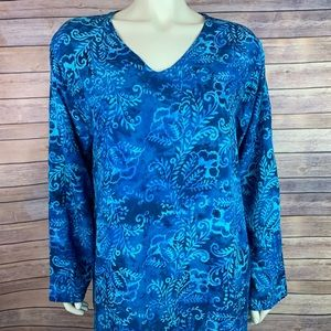 Soft Surroundings Tortuga Tunic Tie Dye Blue Top